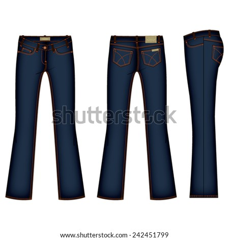 women bootleg denim jean vector