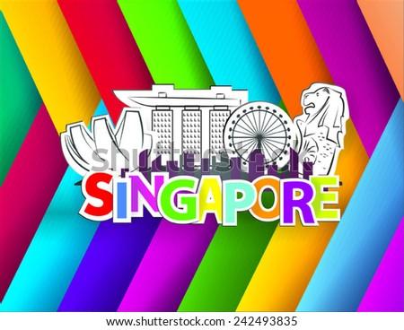 singapore city landmark vector