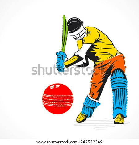 colorful cricket player hit the