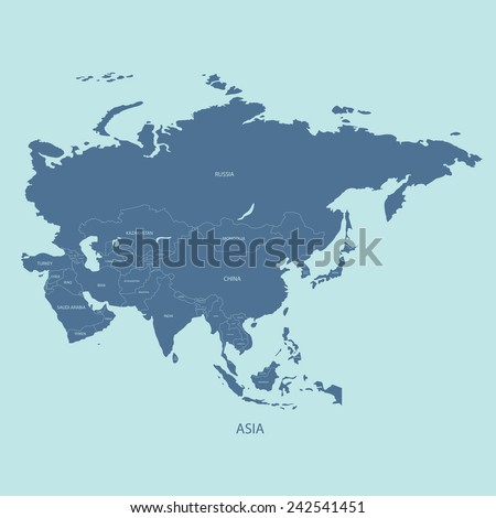 asia map with the name of the