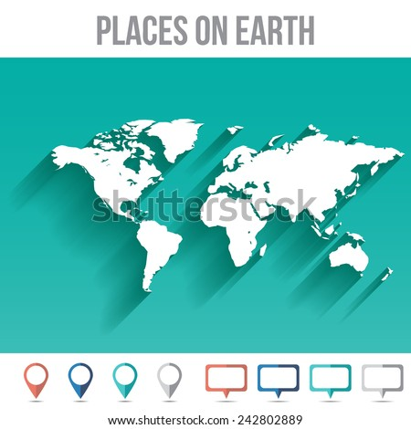 world map with pins  flat