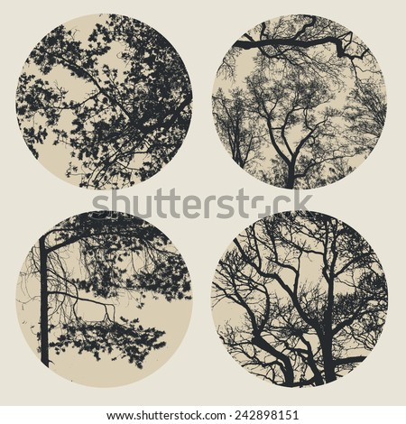 set of circles with trees and