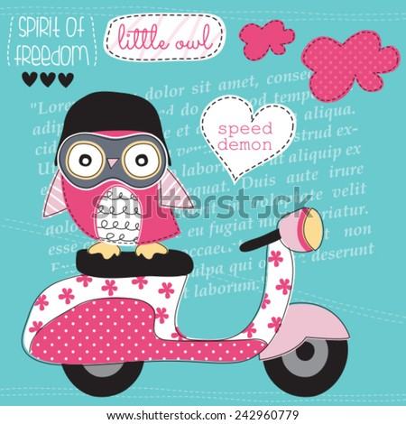 cute owl with motorbike vector