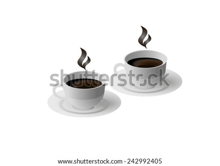 two coffee cups on a white