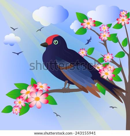 bird on the flower tree