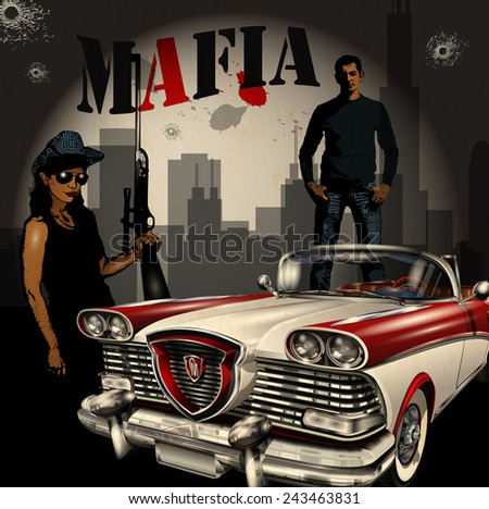 mobster couple with retro car