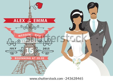 cute wedding invitation with