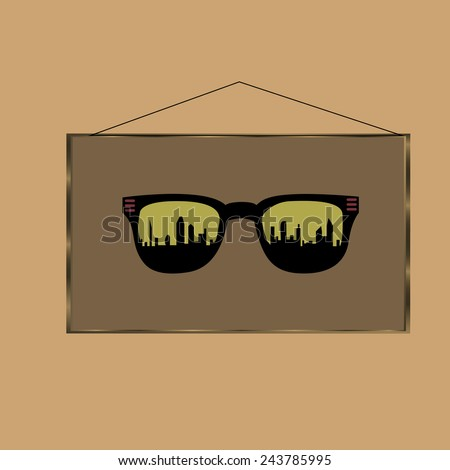 sunglasses with the city in the