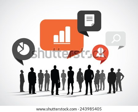 silhouette business people with