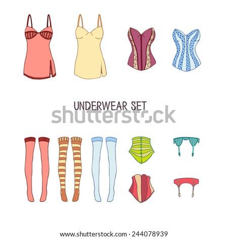 set of underwear colored