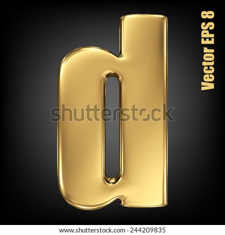 vector letter d from gold solid