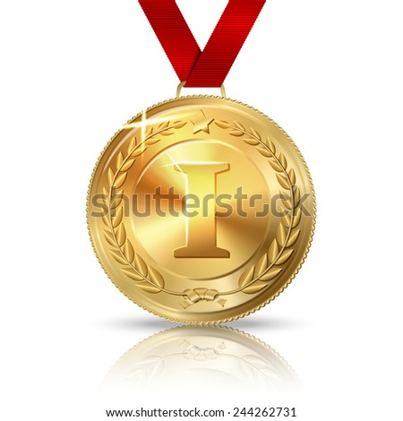 vector golden first place medal