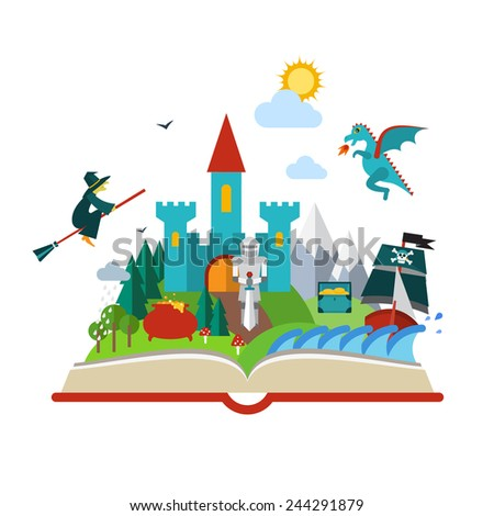 set open fantasy book about