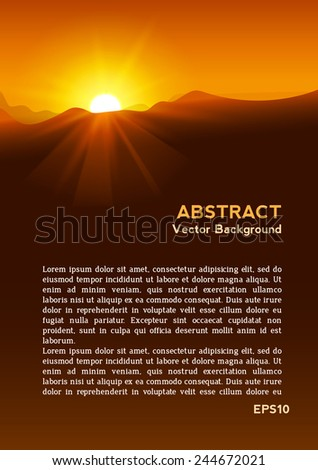 abstract yellow sunset with
