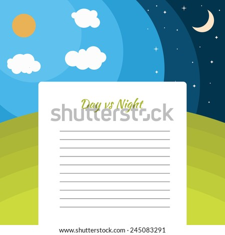 day and night illustration with