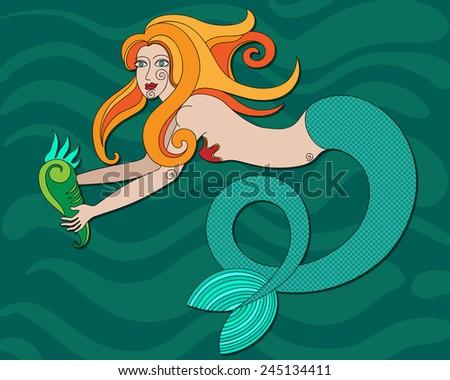 redhead mermaid with curly hair