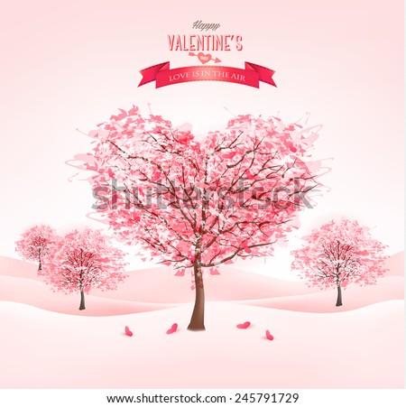 pink heart shaped sakura trees