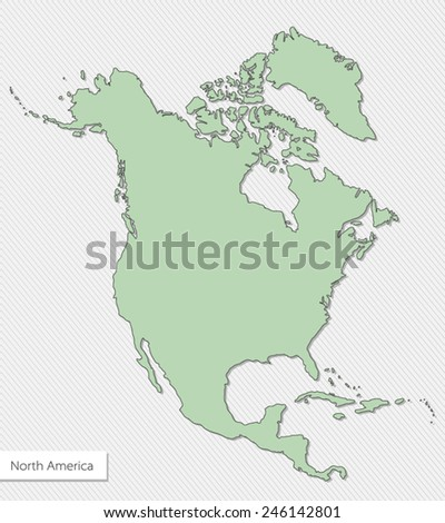 green map of north america on