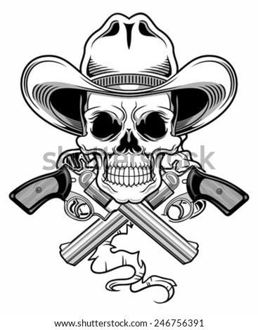 black white cowboy skull