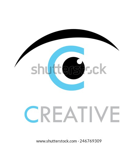 vector sign eye with letter c