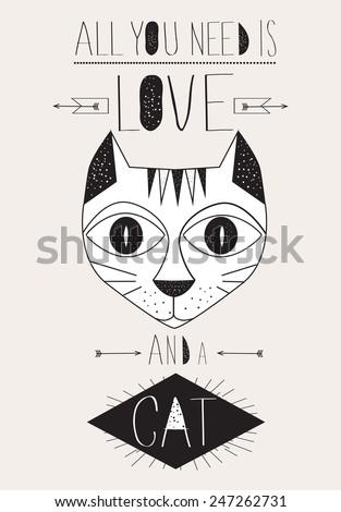 cartoon cat typographic poster