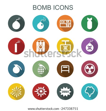 bomb long shadow icons  flat