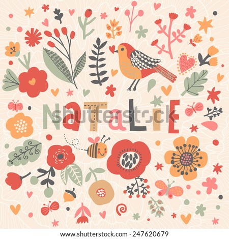 bright card with beautiful name