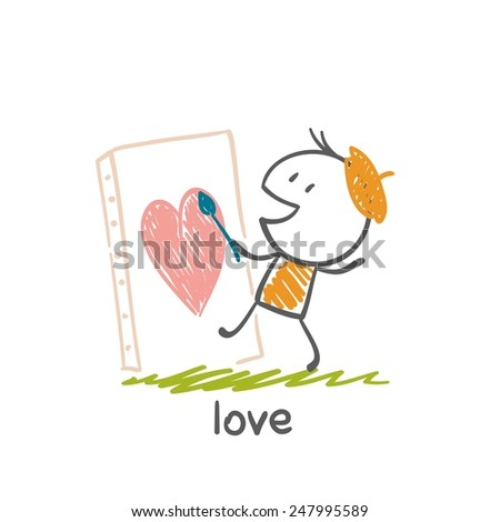 a man in love drawing a heart
