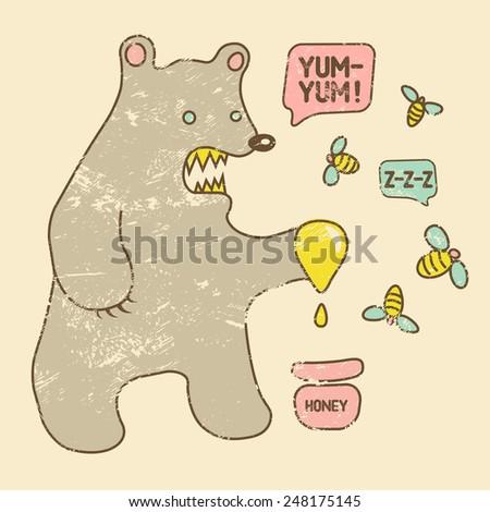 cartoon retro funny bear with