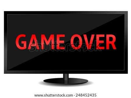 game over text on the tv screen