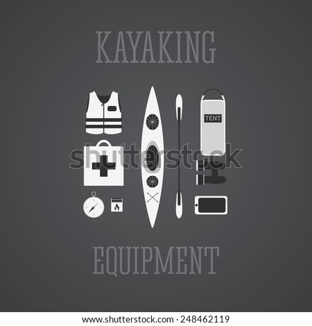 kayaking equipment icons set