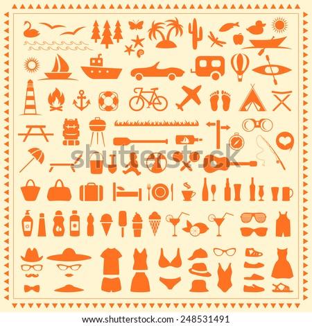 vector set beach icons  summer