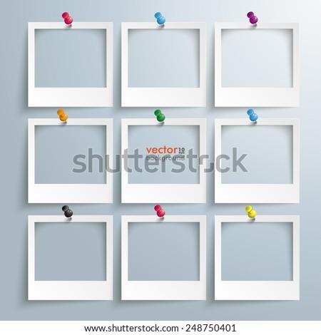 photo frames with thumbtacks on