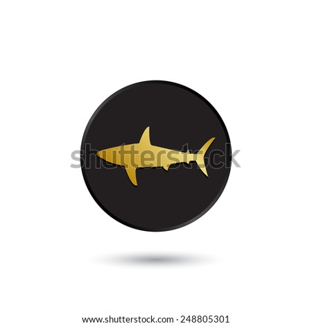 simple gold on black shark icon