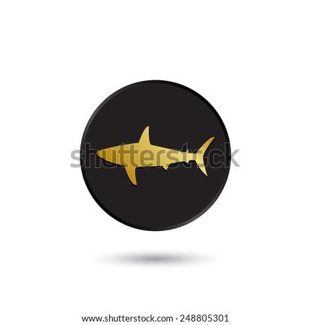 simple gold on black shark icon