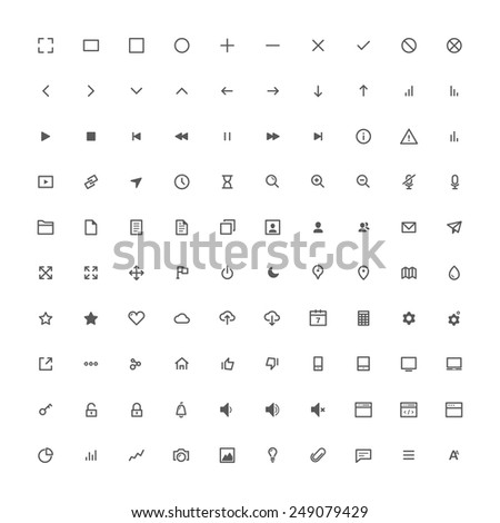 100 modern line icons set for