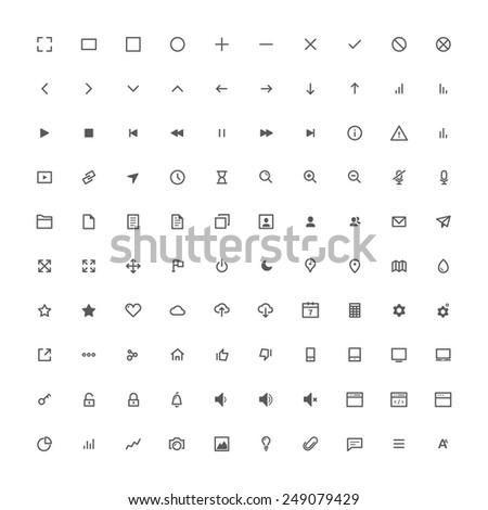 100 modern line icons set for