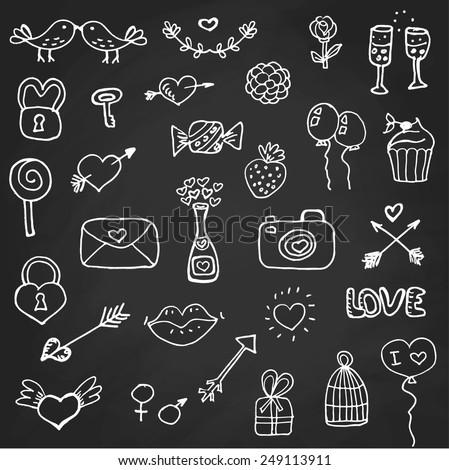 set of valentine s day doodle