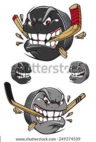 angry evil hockey puck chomping