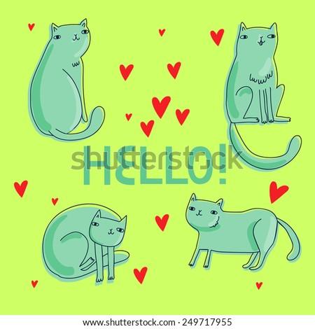 set of doodle cartoons cat with