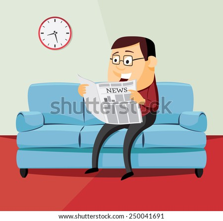 happy man is reading a