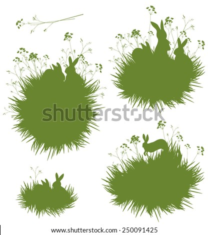 vector silhouettes rabbits in