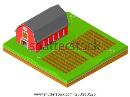 isometric barn growing crops