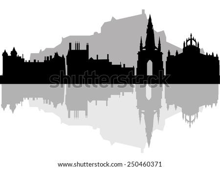 edinburgh skyline   black and