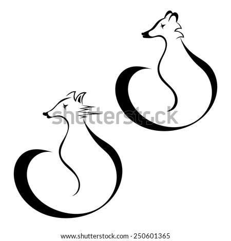 set of silhouettes of fox