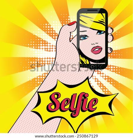 women selfie pop art vector