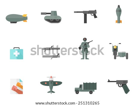 world war related icons in flat