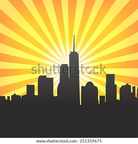 modern cityscape on sunburst