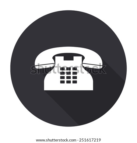 telephone icon with long shadow