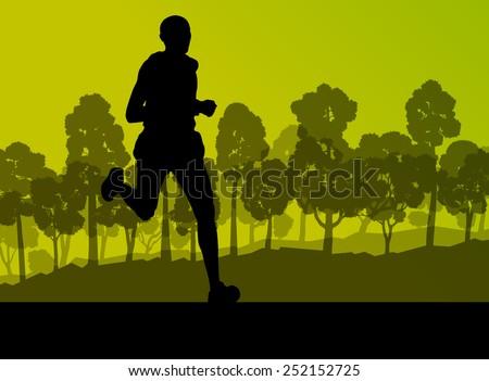 runner in forest landscape